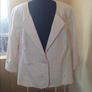 NWT Talbots Sz 18W Cream Summer Blazer Jacket